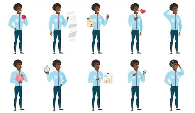 Векторный набор иллюстраций с деловыми людьми.