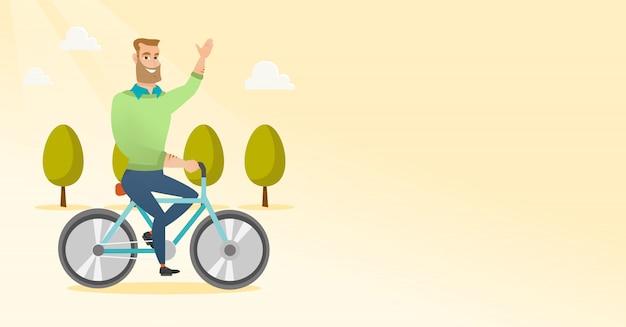 若い男乗馬自転車