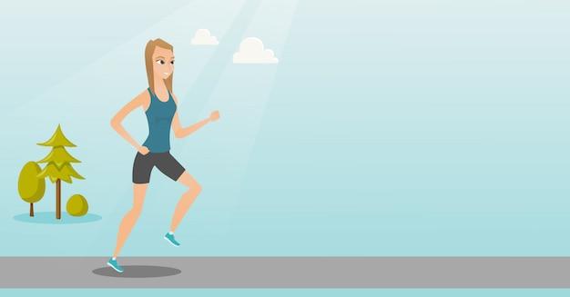 走っている若い女性