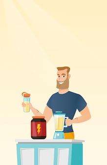 Молодой человек, делая протеиновый коктейль.