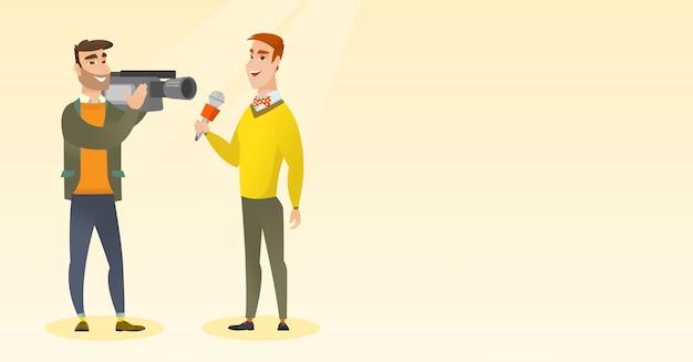テレビ記者とオペレーター