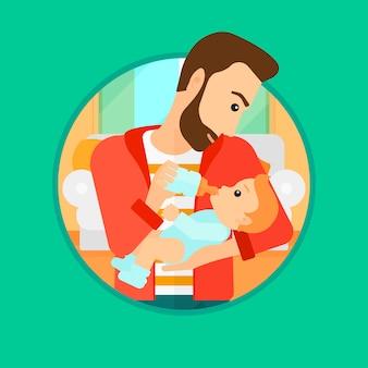 父の授乳中の赤ちゃん。