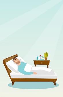 Больной человек с термометром, лежа в постели.