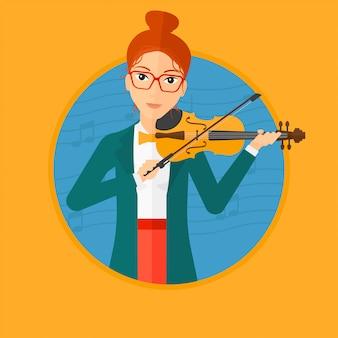 女性演奏ヴァイオリン。