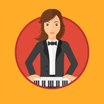 ピアノを弾く女。