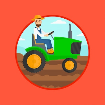 農家運転トラクター。