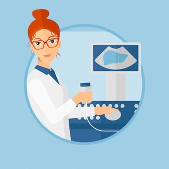 女性の超音波医者。