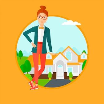 Агент по недвижимости предлагает дом.