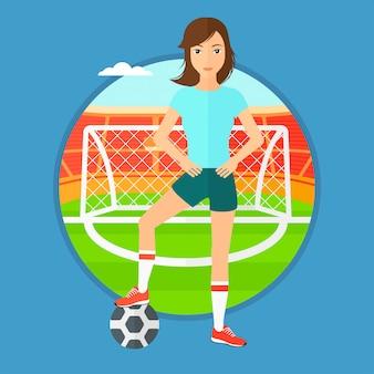 ボールを持つフットボール選手。
