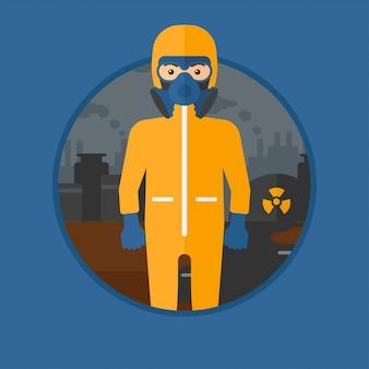 放射線防護服の男。