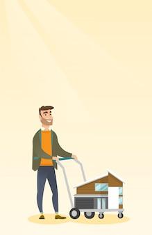 Кавказский восторге мужчина покупает дом.