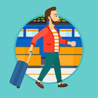 空港でスーツケースを持って歩く人。