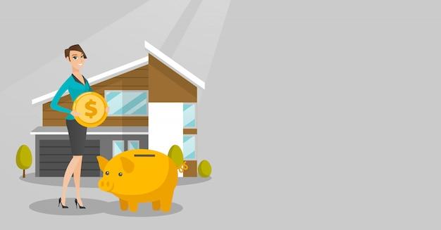 女性は家を買うために貯金箱にお金を節約します。