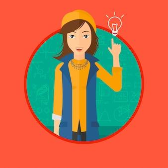 電球を指す女性。