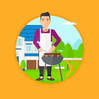 Человек, приготовление мяса на гриле.