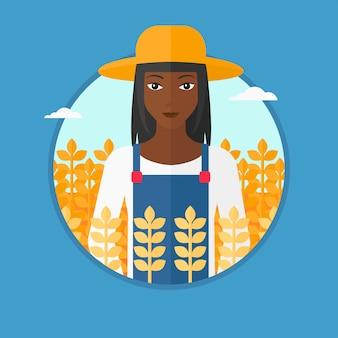 農家の小麦畑ベクトルイラスト。