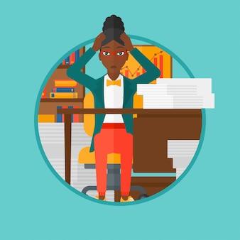 絶望の女性はオフィスに座って絶望します。