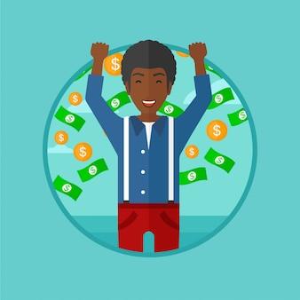 お金のベクトル図を飛んで幸せな男。
