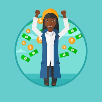 Счастливая женщина с летающими деньгами.