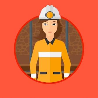 ヘルメットに自信を持って鉱夫。