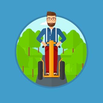 男は電動スクーターを運転します。