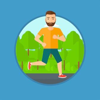 走っている若い男。