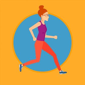 走っている若い女性。