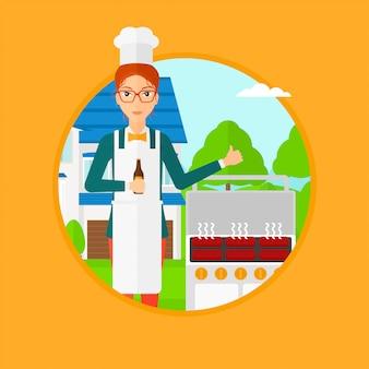 女性がグリルで肉を料理します。