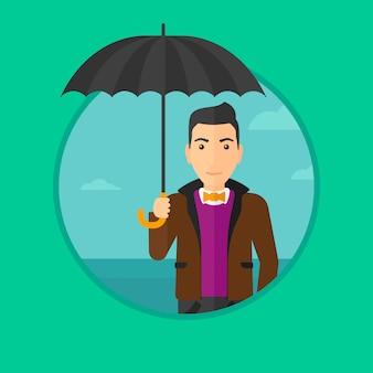 傘を持つビジネス男。