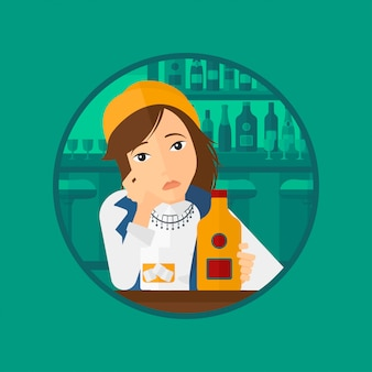 Грустная женщина пьет алкоголь.