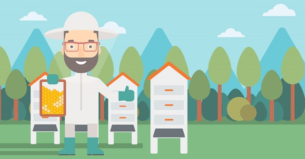 養蜂場の養蜂家