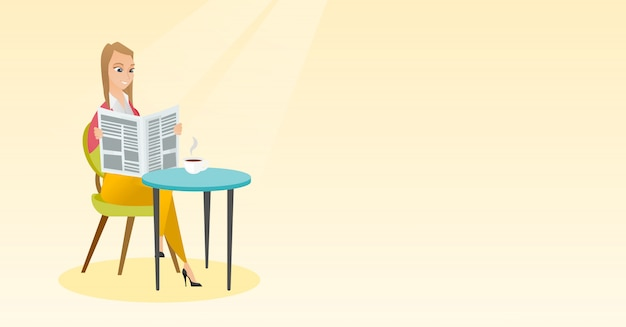 女性は新聞を読み、コーヒーを飲みます。