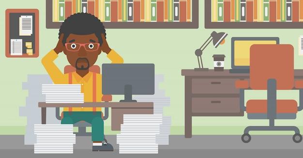 絶望のオフィスに座っているビジネスマン