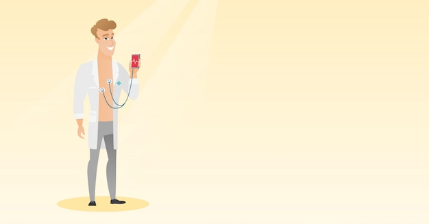 心拍数の測定のための医者を示すアプリ。