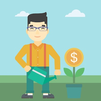 Бизнесмен поливает деньги цветок