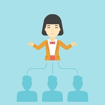 ビジネスの女性が従業員を選択します。