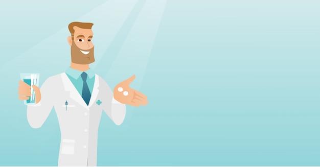 薬剤師が錠剤とコップ一杯の水を与える。