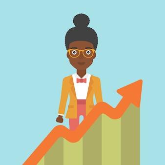 成長チャートを持つ女性実業家。