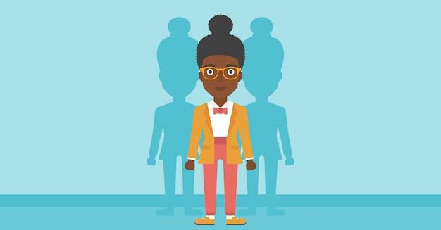 仕事のベクトル図を探している女性。