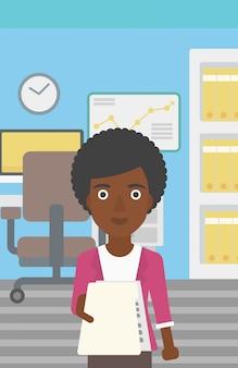 履歴書のベクトル図を与える女性。