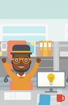Творческий возбужденный человек, имеющий бизнес-идея.
