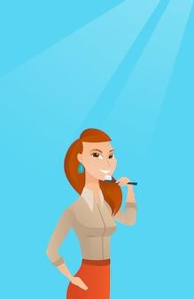 女性の歯磨きのベクトル図です。