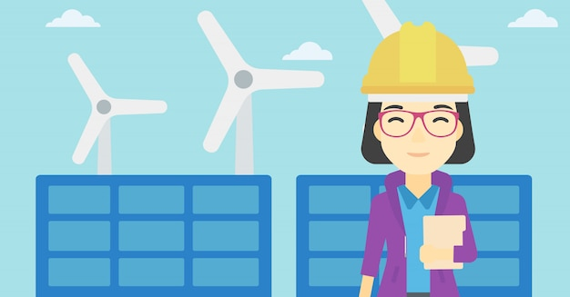 太陽光発電所と風力発電所の女性労働者。