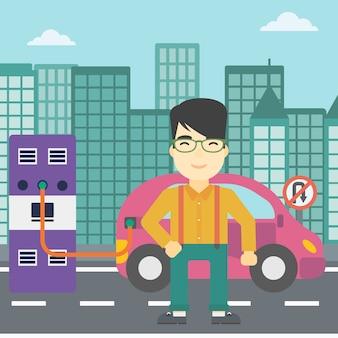 電気自動車のベクトル図の充電