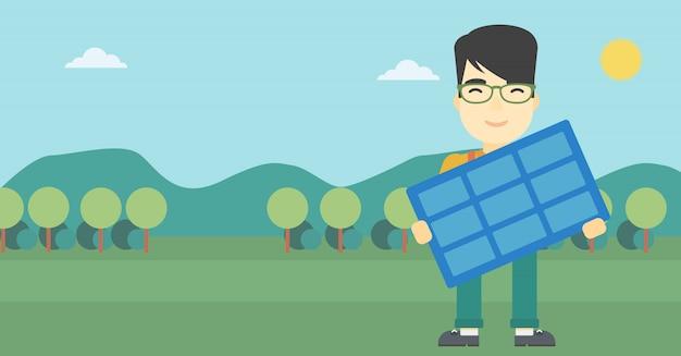太陽電池パネルのベクトル図を抱きかかえた。