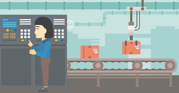 Инженер стоит возле пульта управления.