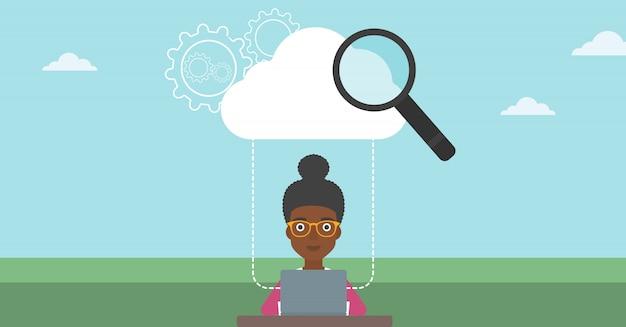 Облачные вычисления технологии векторные иллюстрации.