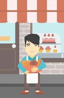 ベーカリー製品のパン屋持株バスケット。