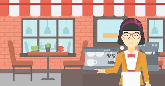 バリスタはコーヒーマシンのそばに立っています。