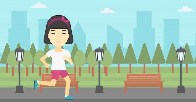 ベクトル図を走っている若い女性。